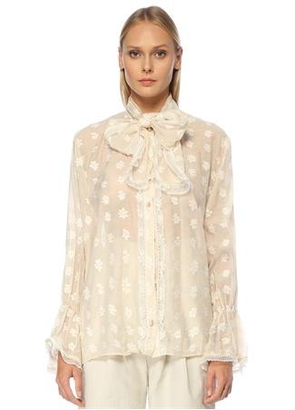 Sister Jane Kadın Krem Yakası Bağcıklı Çiçekli Uzun Kol Bluz Bej S EU