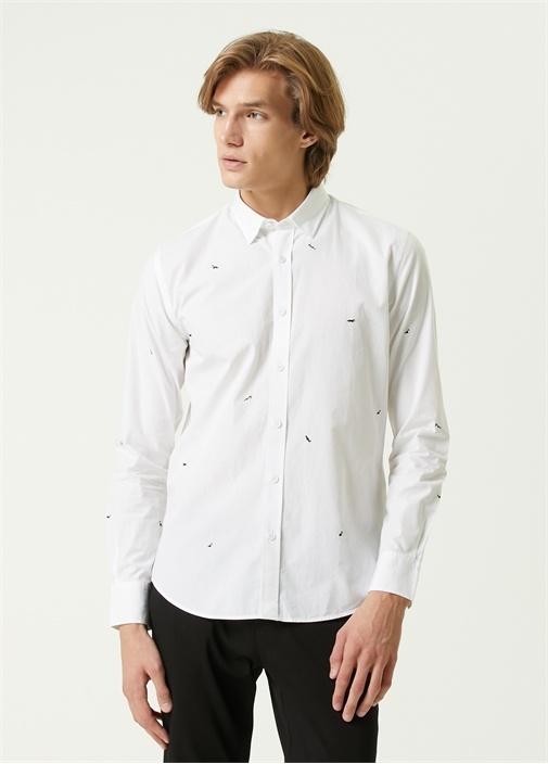 Slim Fit Beyaz Mini Husky Nakışlı Poplin Gömlek