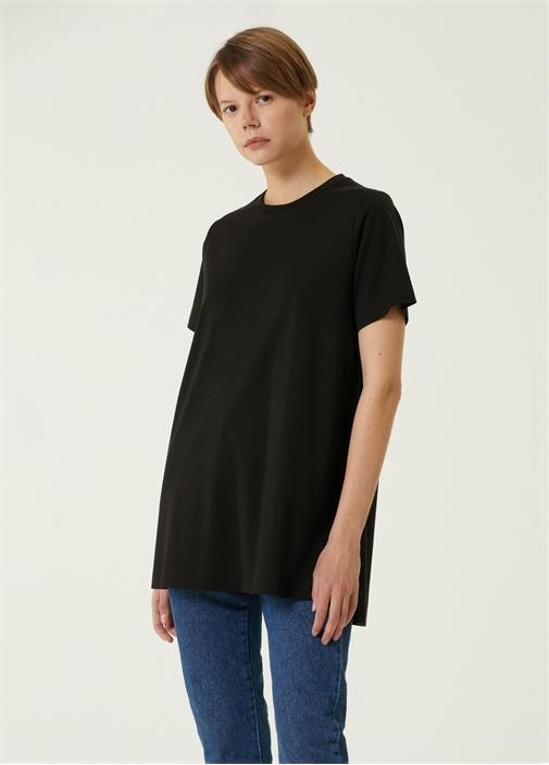 Siyah Bisiklet Yaka Uzun T-shirt