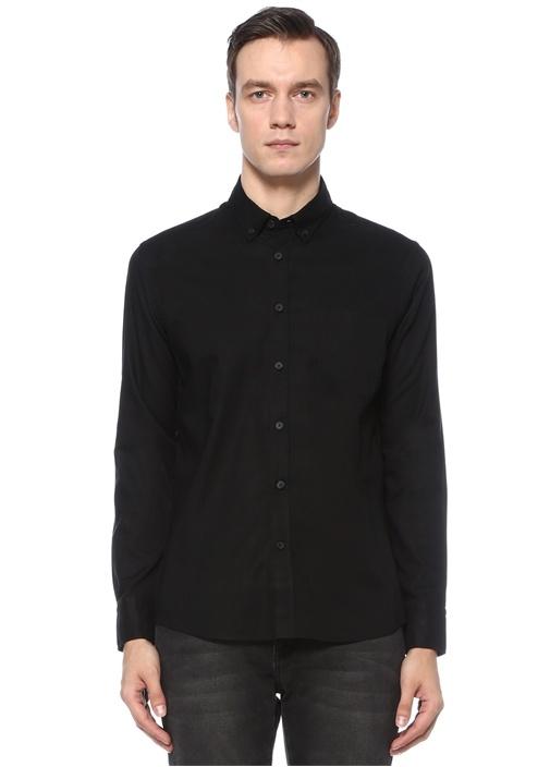 Slim Fit Siyah Polo Yaka Oxford Gömlek