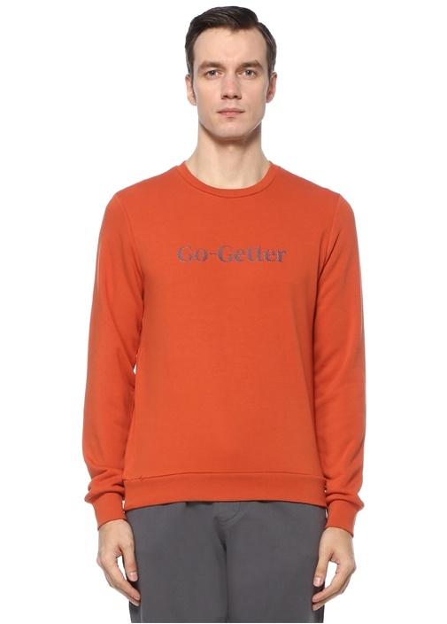 Turuncu Slogan Baskılı Sweatshirt