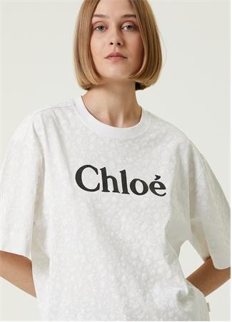 Chloe Kadın Beyaz Bisiklet Yaka Logolu T-shirt S EU