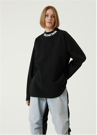 Balenciaga Kadın Siyah Dik Yaka Logolu Uzun Kol T-shirt S EU