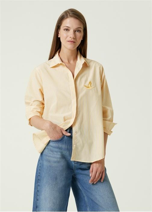Sarı Çizgili Boyfriend Poplin Gömlek