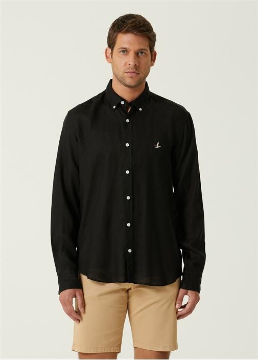 Comfort Fit Siyah Düğmeli Yaka Keten Gömlek