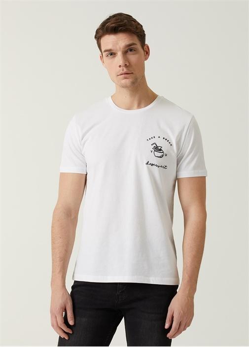 Beyaz Kabartmalı Kokteyl Baskılı T-shirt