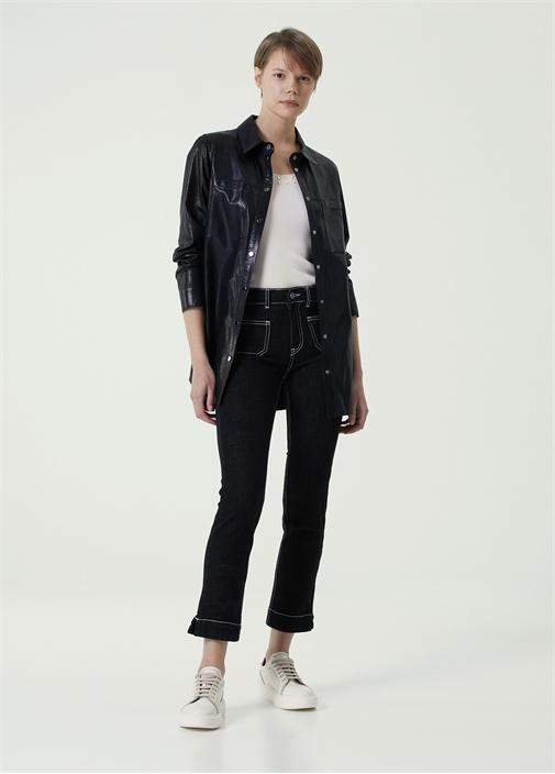 Straight Fit Lacivert Dikiş Detaylı Jean Pantolon