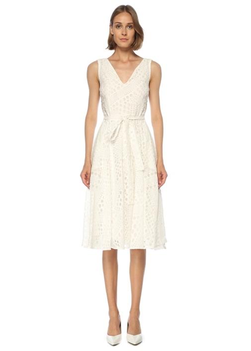 Beyaz V Yaka Puantiyeli Midi Elbise