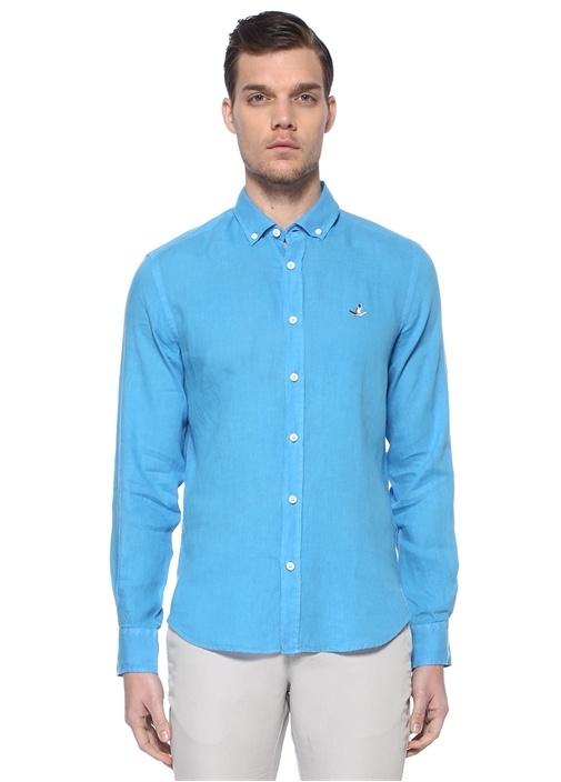 Comfort Fit Mavi Polo Yaka Keten Gömlek