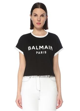 Balmain Kadın Siyah Beyaz Logolu T-shirt S EU