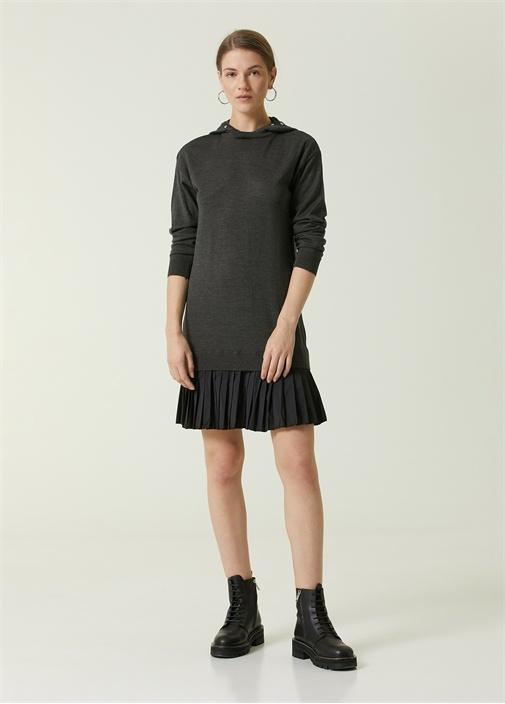 Antrasit Kapüşonlu Garnili Mini Yün Triko Elbise