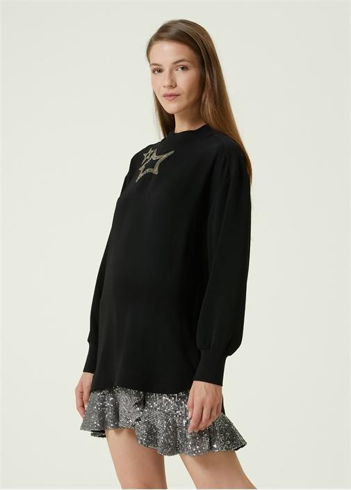 Siyah Yıldız İşlemeli Sweatshirt
