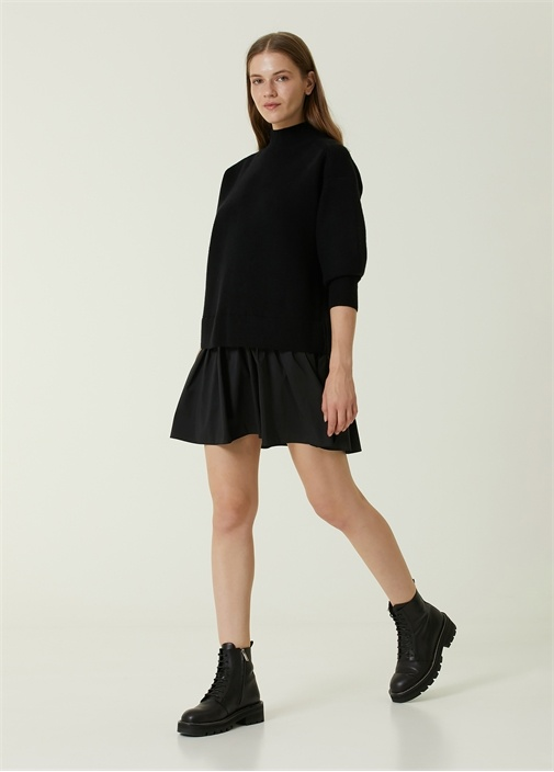 Siyah Dik Yaka Tafta Etekli Mini Triko Elbise