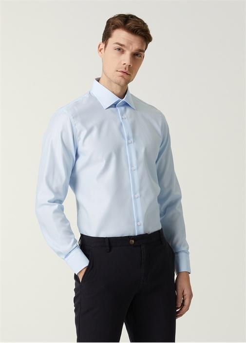 Slim Fit Mavi Armürlü Non-Iron Gömlek