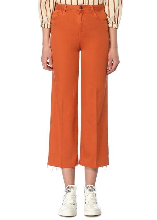 Turuncu Bol Paça Crop Jean Pantolon
