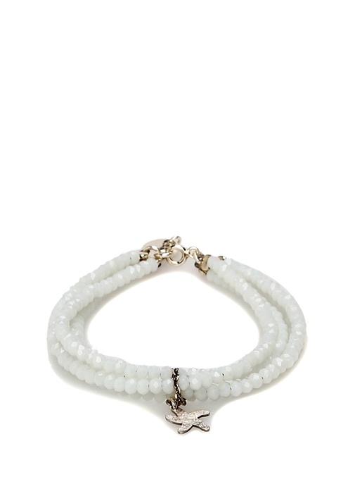Beyaz Kristal Taşlı Kadın Gümüş Bilezik
