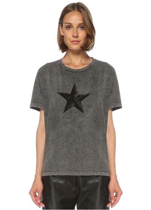 Antrasit Yıldız İşlemeli Yıkamalı T-shirt