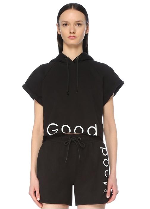 Good Siyah Kapüşonlu Kısa Kol Sweatshirt