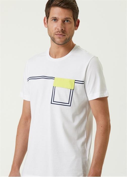 Beyaz Garnili Cep Kapaklı T-shirt