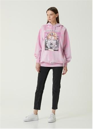 Versace Jeans Couture Kadın Pembe Kapüşonlu Baskılı Sweatshirt S EU