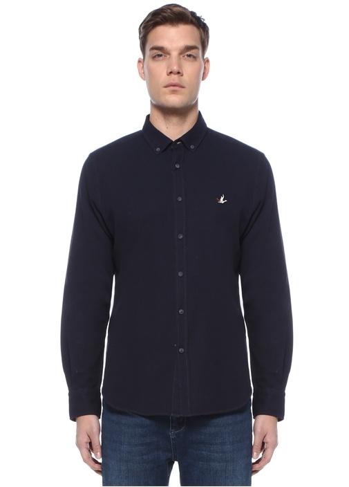Comfort Fit Lacivert Polo Yaka Gömlek