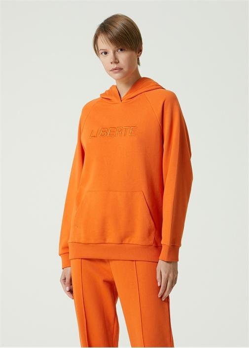 Liberte Turuncu Kapüşonlu Sweatshirt