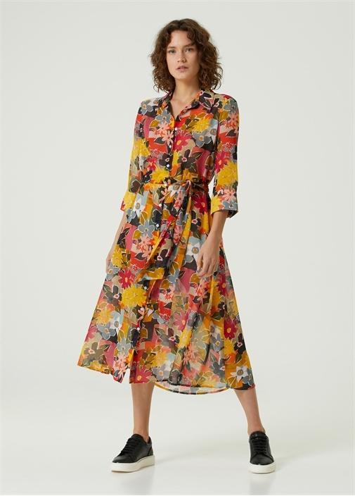 Çiçekli Beli Kuşaklı Midi Gömlek Elbise