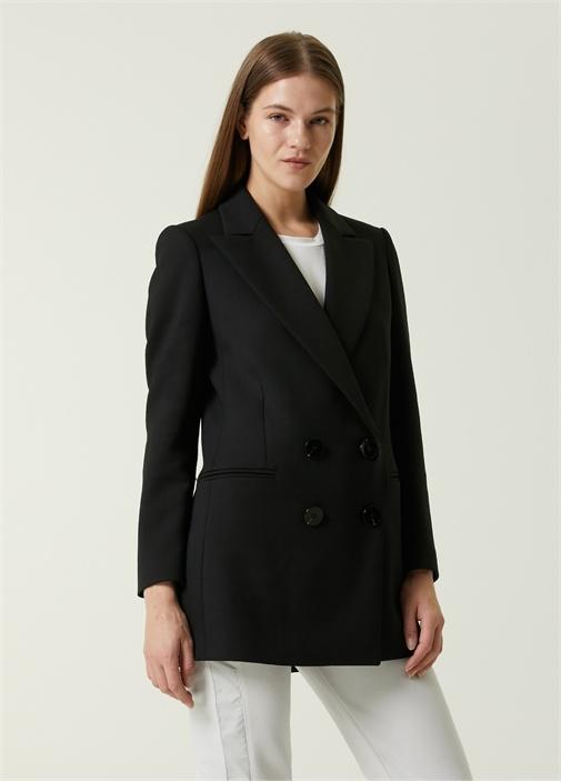 Siyah Kruvaze Blazer Ceket