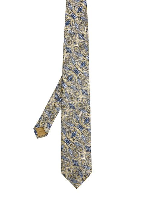 Sarı Şal Desenli Kravat