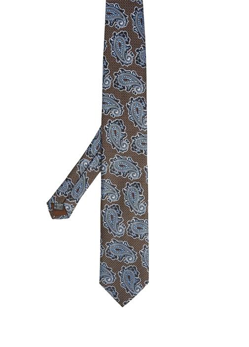 Kahverengi Otantik Şal Desenli Kravat