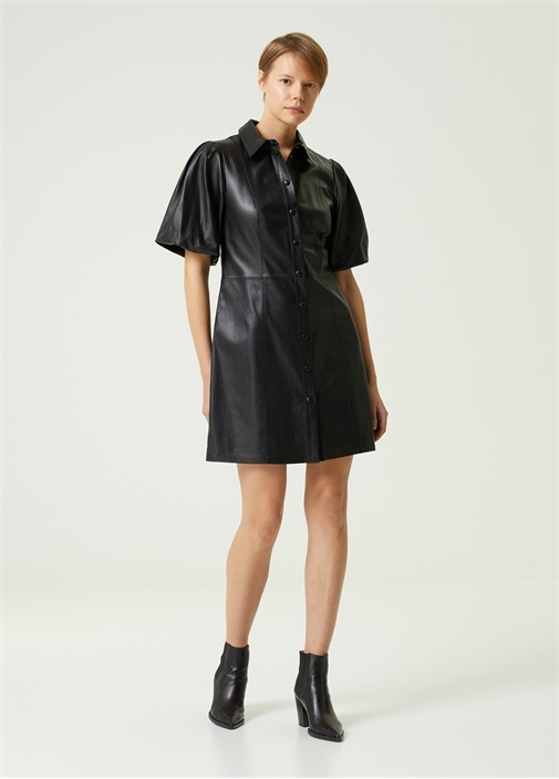 Siyah Balon Kol Mini Deri Gömlek Elbise