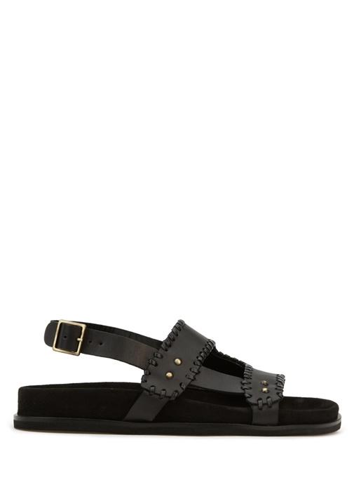 Siyah Örgü Deri Kadın Sandalet