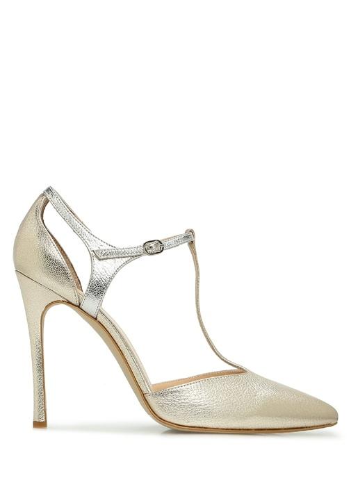 Silver Gold Deri Topuklu Ayakkabı