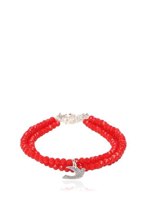 Kırmızı Kristal Boncuklu Kadın Gümüş Bileklik