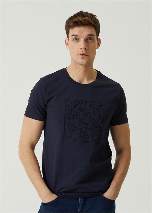 Lacivert Kabartmalı Logo Baskılı T-shirt