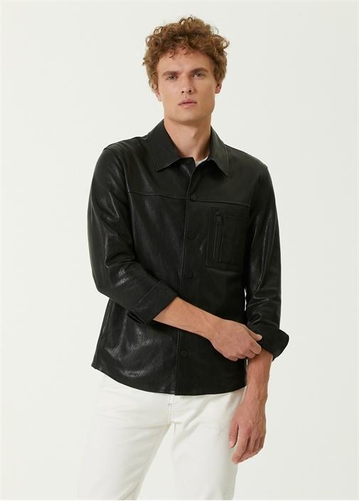 Siyah Polo Yaka Deri Gömlek
