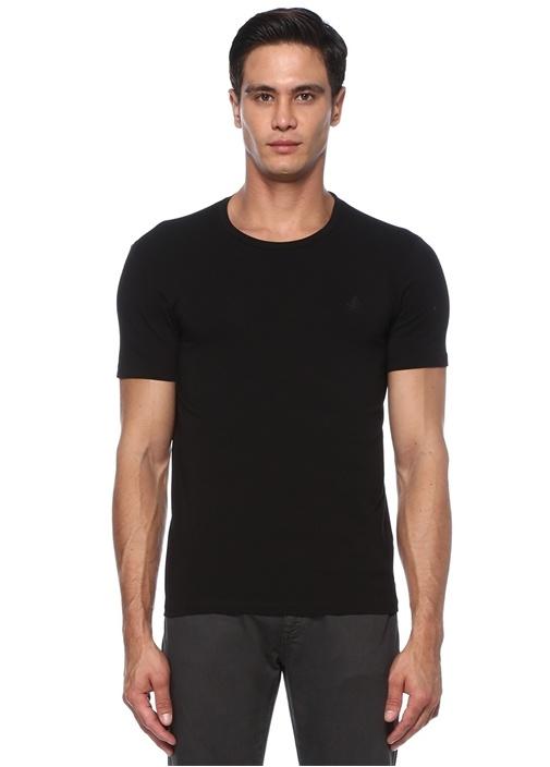 Siyah Kuş Logolu Basic T-shirt