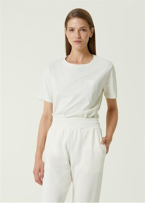 Beyaz Rugan Cep Detaylı T-shirt
