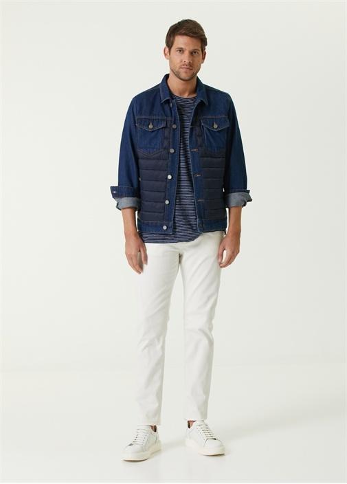 Slim Fit Beyaz Gri Dikişli Jean Pantolon