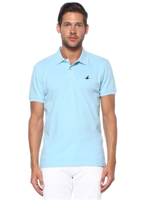 Slim Fit Açık Mavi Polo Yaka T-shirt