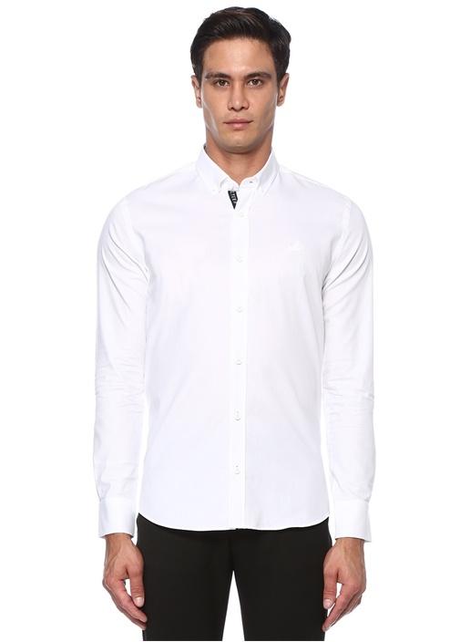 Beyaz Polo Yaka Reflektif Şeritli Gömlek