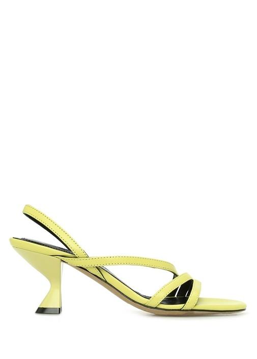 Sarı Çapraz Bantlı Kadın Deri Sandalet
