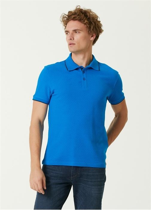 Slim Fit Mavi Polo Yaka Dokulu T-shirt