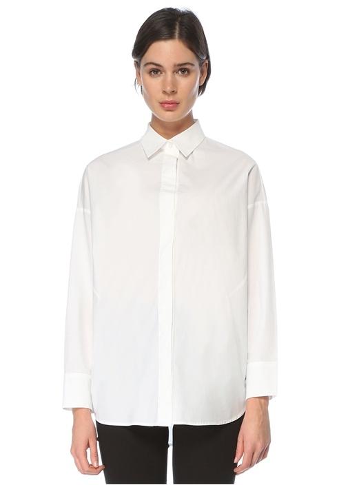 Beyaz Polo Yaka Oversize Poplin Gömlek
