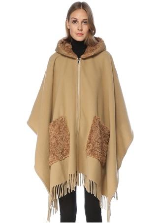 Moncler Kadın Cloak Bej Puff Kapüşonlu Logolu yün Pelerin EU