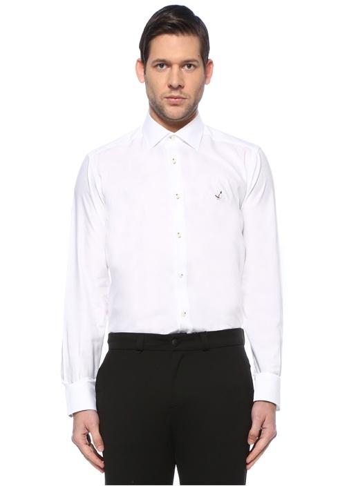 Beyaz Modern Yaka Gömlek