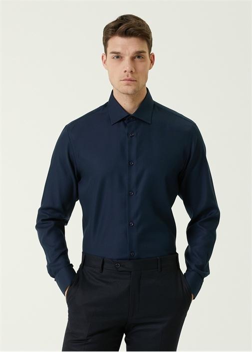 Comfort Fit Lacivert Armürlü Non-Iron Gömlek