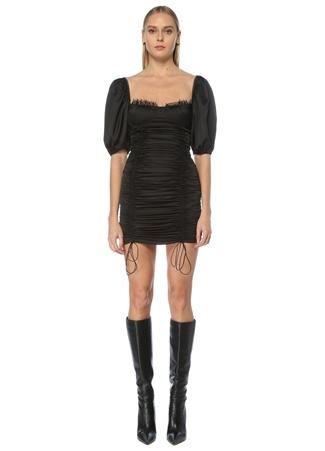 New Arrivals Kadın Bellucci Siyah Kalp Yaka Büzgülü Mini Elbise 34 EU