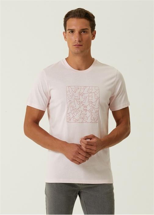 Pembe Monogram Logo Nakışlı Basic T-shirt