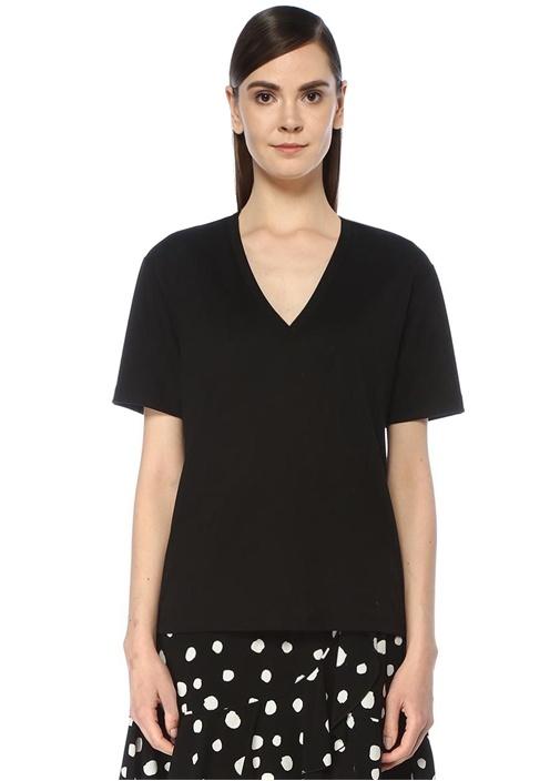 Siyah Parlak Tensel Basic T-shirt